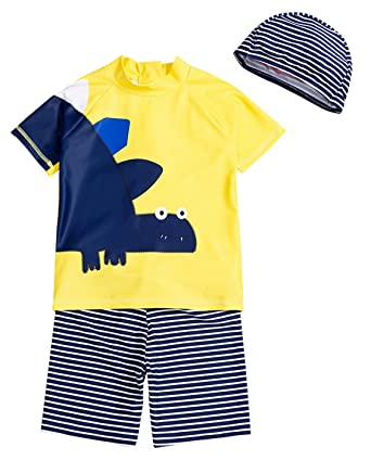 872c4dbdf264b Momasong Baby Boys Anti-UV Sun Protection Swimming Costume Swimwear Swim  Top Shorts and Hat
