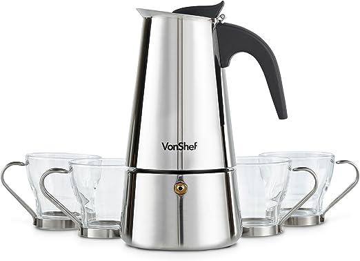 Cafetera Espresso de encimera de 6 tazas con 4 tazas de cristal ...