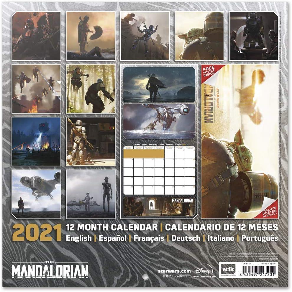 Calendario 2021 Star Wars Mandalorian Film Serie 30 x 30 cm con poster