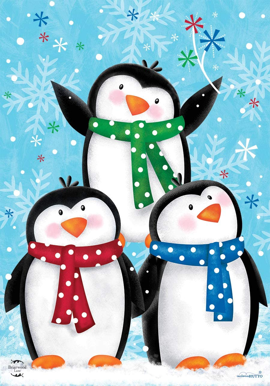 "Briarwood Lane Winter Penguins House Flag Primitive Snowflakes Scarfs 28"" x 40"""
