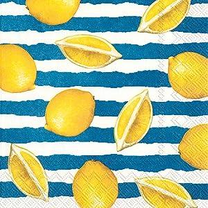 Boston International IHR 3-Ply 20-Count Cocktail Beverage Paper Napkins, 5 x 5-Inches, Summer Lemons Blue