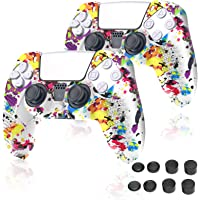 Hianjoo 10 Pack Controller Accessories Compatible with Sony PS5, 2 PCS Non-slip Handle Silicone Protective Cover Skin…