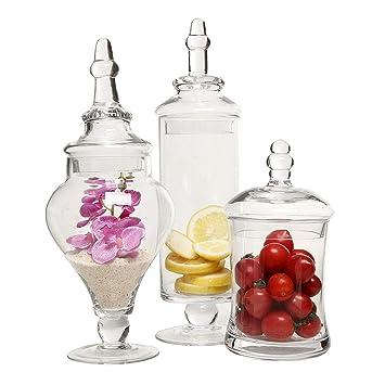 Candora 3 piezas de tarros de cristal transparente, boda centro de mesa, dulces botellas