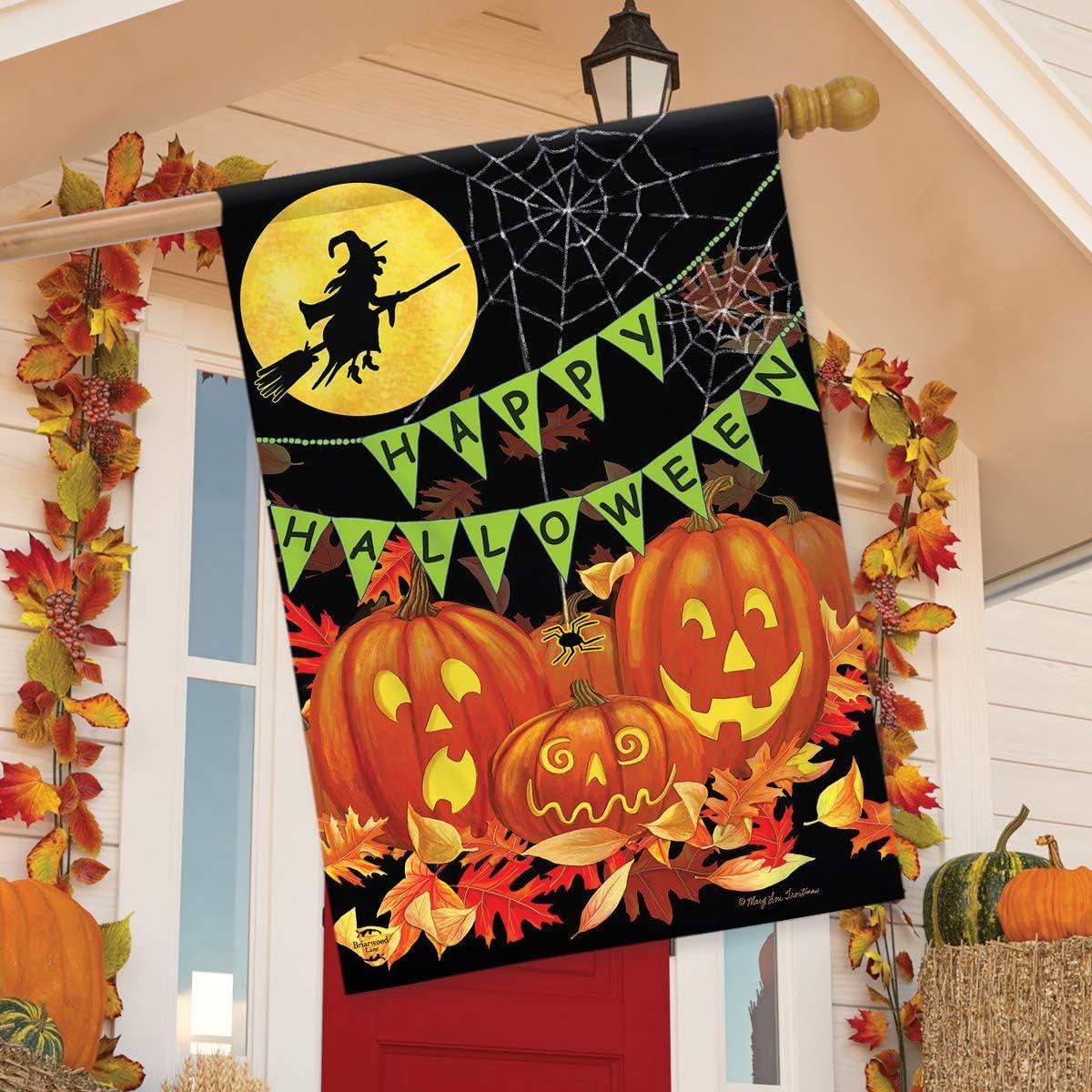 Briarwood Lane Halloween Haunts House Flag Witch Jack-o-Lantern 28 x 40