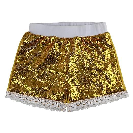 3af5acfb5 Wennikids Baby Girls Lace Trim Shorts Toddlers Short Sequin Pants Large Gold