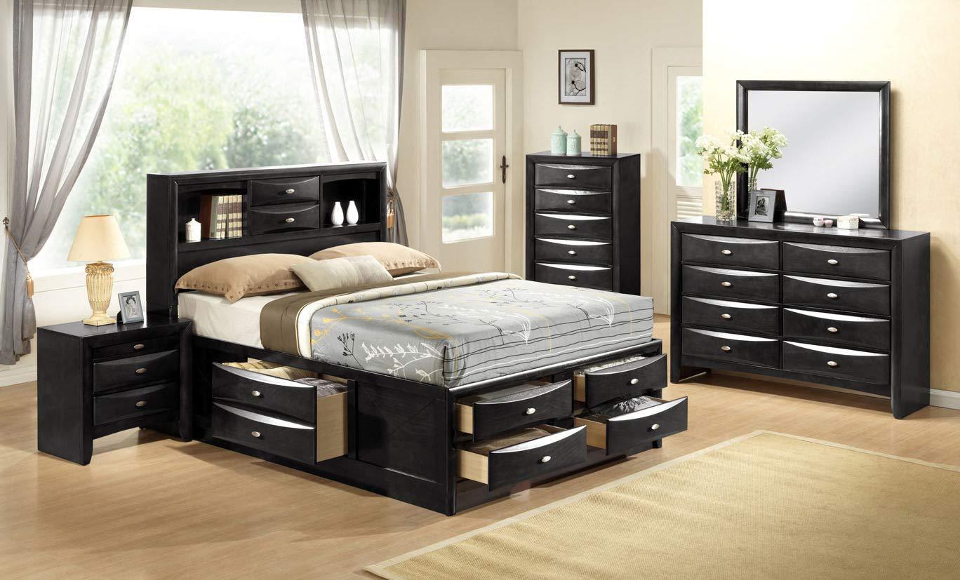 Giantex Modern 5 Piece Bedroom Furniture Set Bed Dresser Mirror Chest End Table Night Stands (Queen Size 5 Piece Set, Black) HW59049+50+51+52