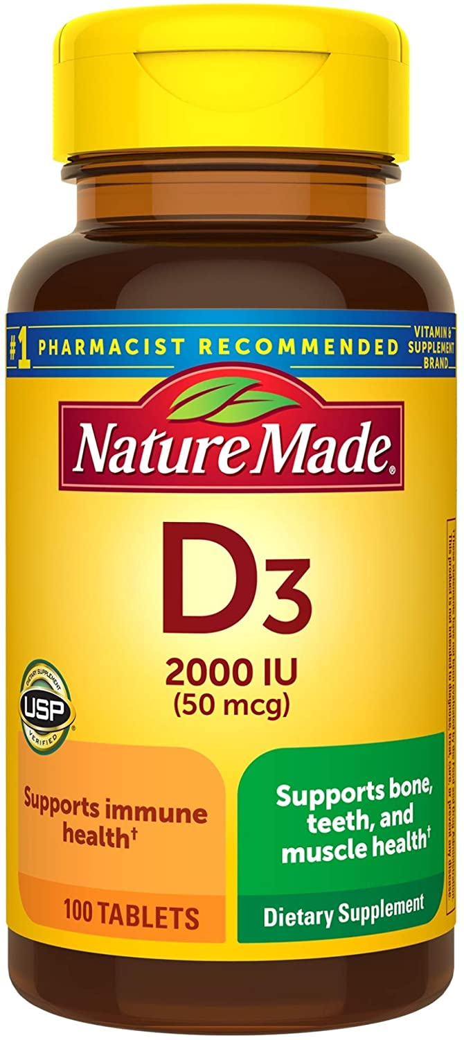 Nature Made Vitamin D3 2000 IU (50 mcg) Tablets, 100 Count for Bone Health† (Packaging May Vary): Health & Personal Care