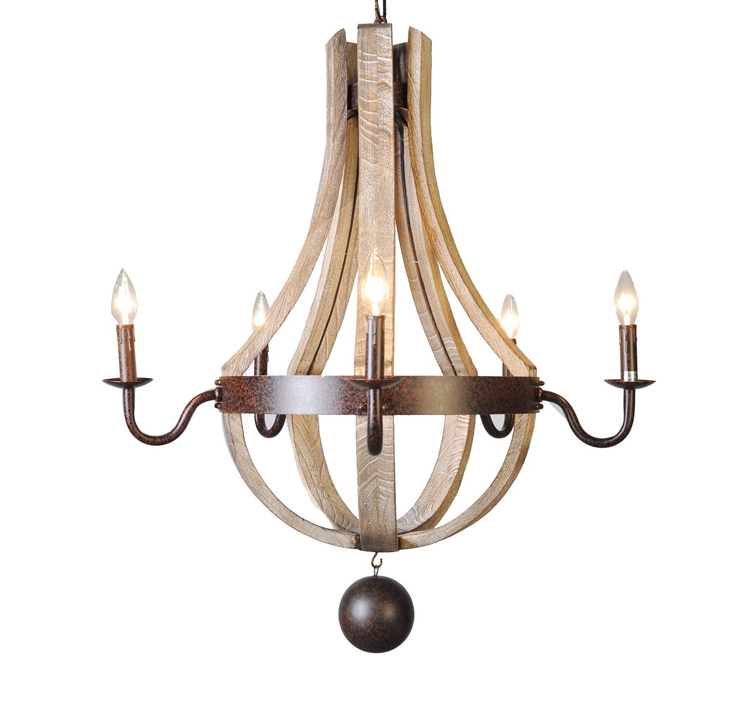 Vintage French Country Wood Metal Wine Barrel Chandelier Pendant