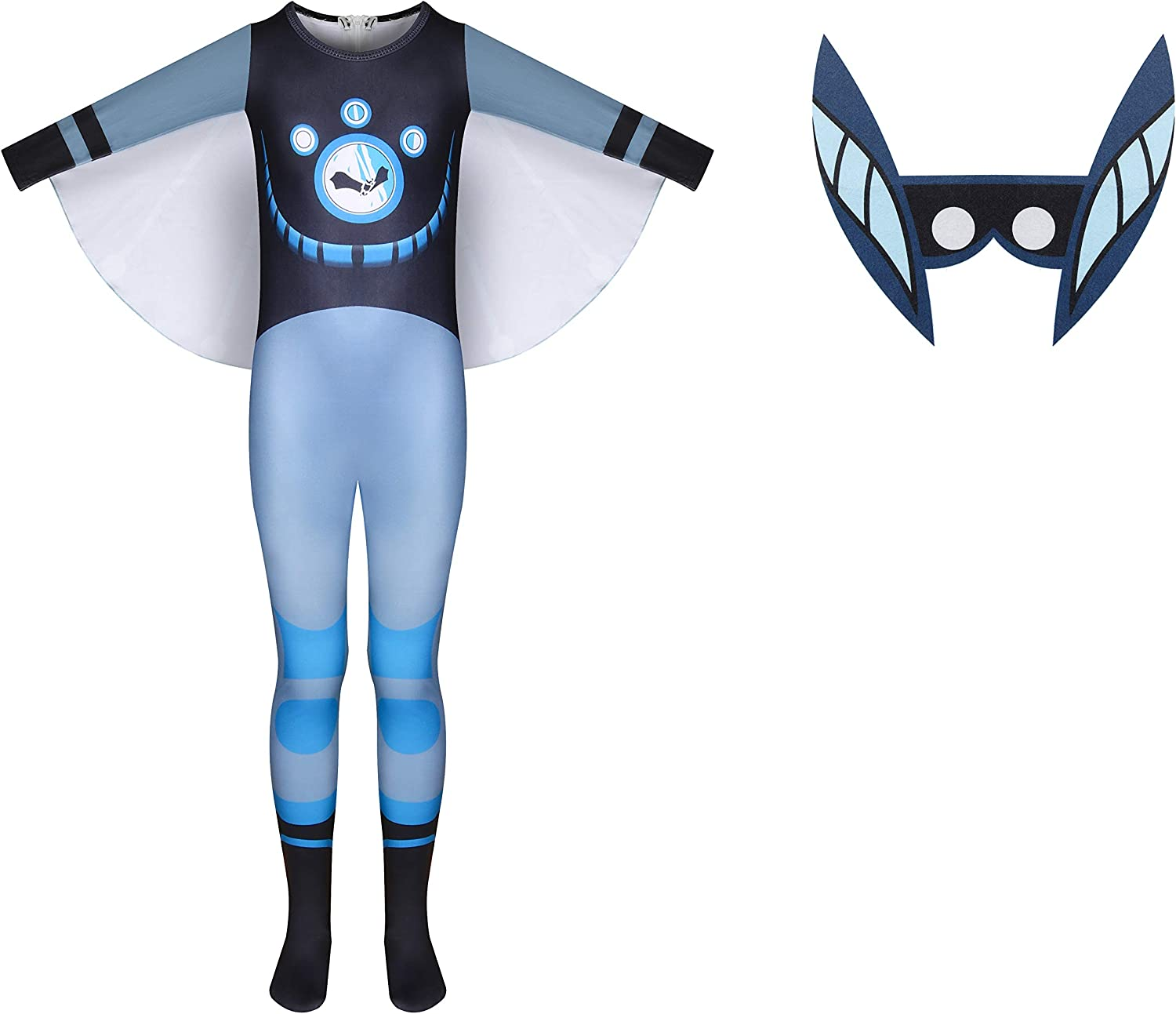 Fly Kid Wild KRA-tts Costumes for Boys,Kids Character Role Play Jumpsuit with Bat Face Accessory and Wings