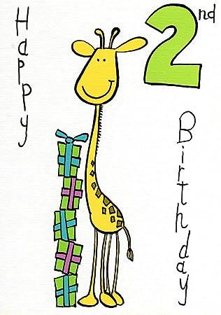 Happy 2nd Birthday Cute Giraffe Card Boy Age 2 Greeting Cards