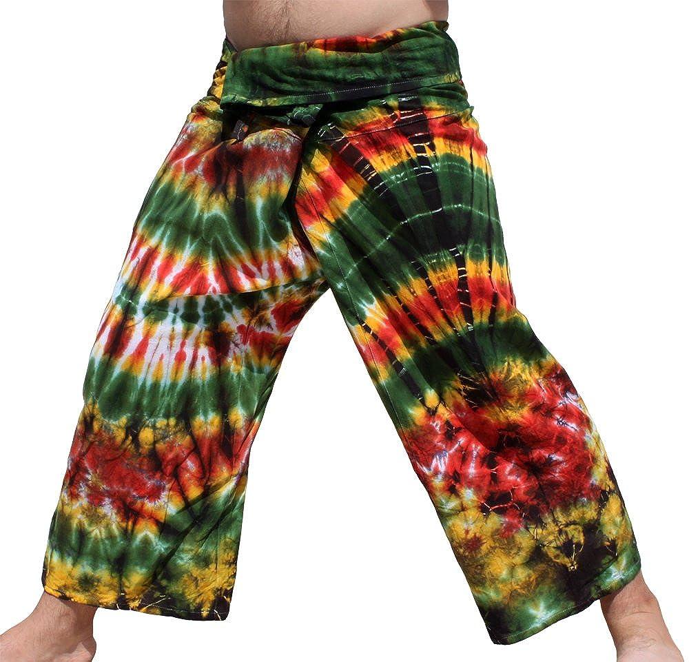 RaanPahMuang Thick Muang Cotton Thai Fishermans Pants Vibrant Tiedyed Tie Dye B013ICQYA6 M|グリーンイエロー グリーンイエロー M