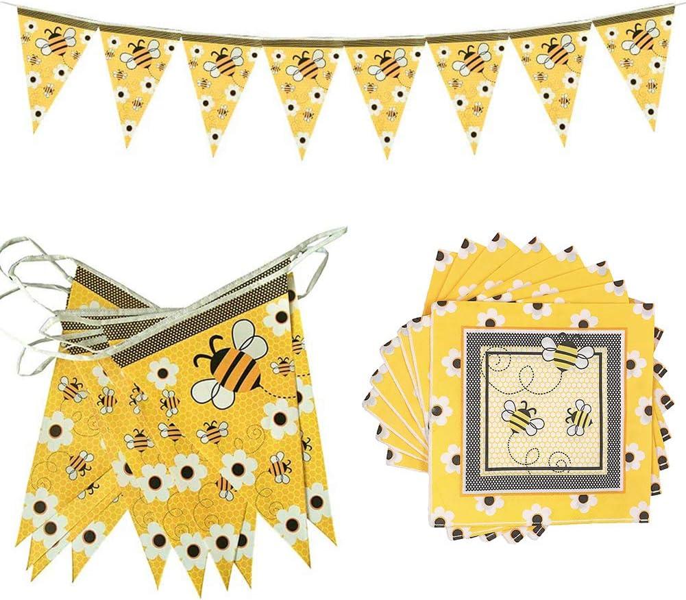 Pailles Assiettes Tasses etc pour Baby Shower D/écoration Pour 10 Personnes Abeille Th/ème F/ête danniversaire D/écoration Vaisselle Jetable Fanions