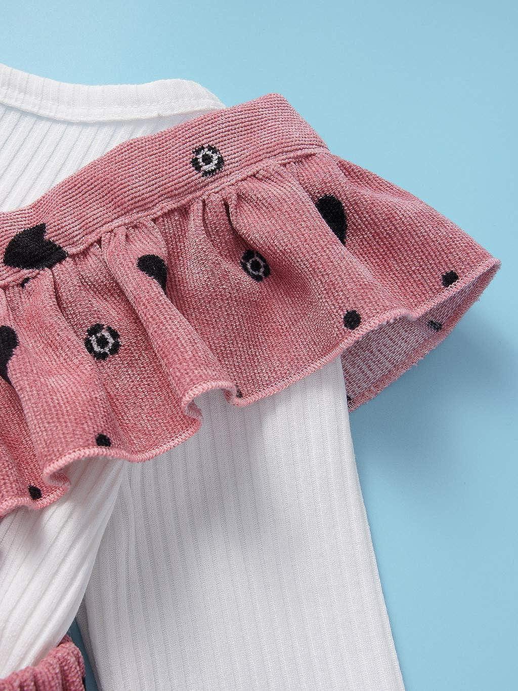 Liebes Print Strap Rock Set 0-3 Jahre alt Baby M/ädchen Lange /Ärmel Einfarbig R/üsche Kleidung Strampler Spielanzug Kleidung Sayla Babykleidung Satz Bekledidungsset