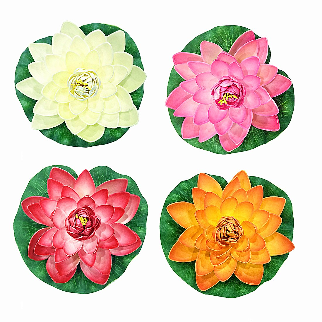 Best water lillies for ponds amazon navadeal 4pcs artificial floating foam lotus flowers realistic water lily pads vibrant color pink ivory orange crimson perfect for home garden patio pond izmirmasajfo