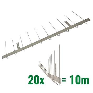 10 metros de Púas antipalomas para canalón -Standard con base de acero inoxidable - 2-hileras de Púas antipalomas la solución de calidad para el ...