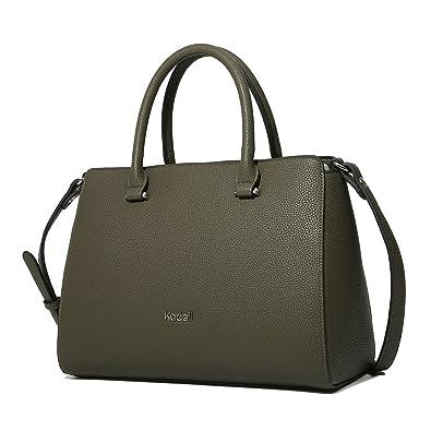 8ef9bb7cf0 Kadell Women s Handbags PU Leather Ladies Luxury Tote Satchel Shoulder Bags  Top Handle Purse Army Green