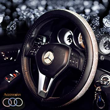 KAFEEK Diamond Leather Steering Wheel Cover with Bling Bling Crystal Rhinestones Black Microfiber Leather and White Diamond Universal 15 inch Anti-Slip