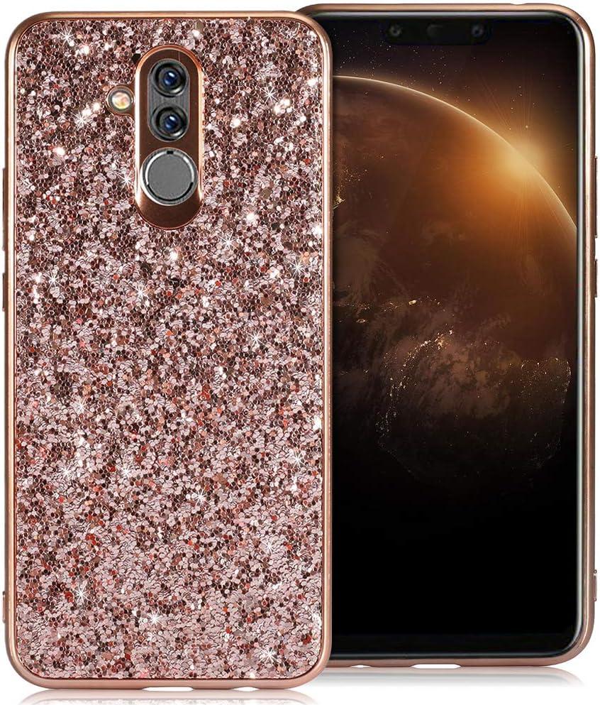 WIWJ Handyh/ülle Kompatibel f/ür Huawei Mate 20 Lite Glitzer Gold,Bling Sparkles Glitter Cover TPU Silikon Bumper Case Handy Schutzh/ülle f/ür Huawei Mate 20 Lite R/ückseite