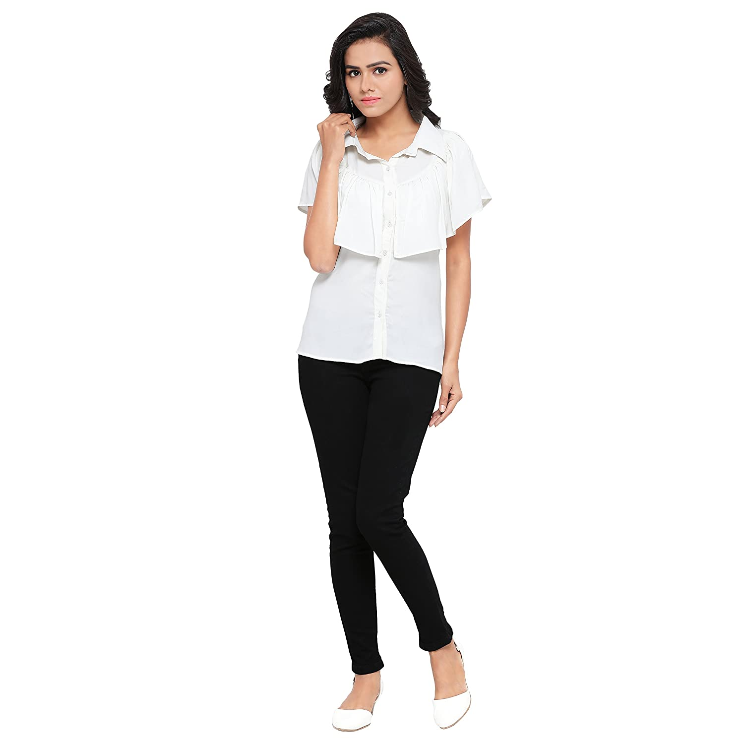 ee6f9ec149c2 Serein Women's White Crepe top Crepe Shirt with Neck Frills: Amazon.in:  Clothing & Accessories