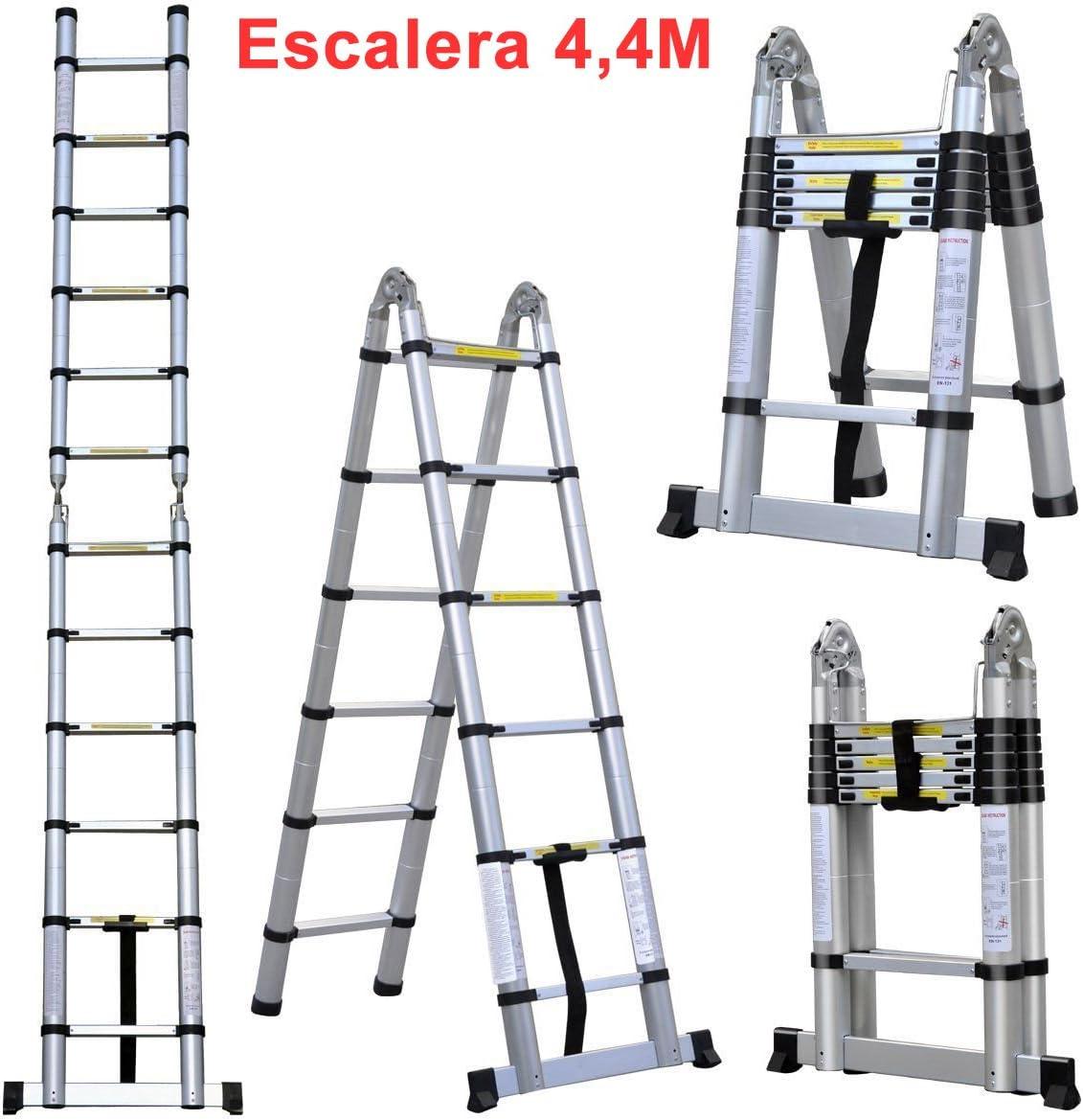 Grandmaster - Escalera de Telescopica de Aluminio 4,4M Multiuso Multifuncional Plegable - DLT707B: Amazon.es: Bricolaje y herramientas