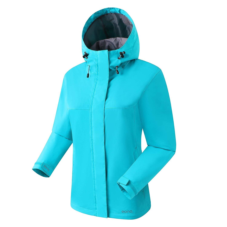 Large Eono Essentials Womens Mid-Weight Waterproof Jacket Brand Lake Blue