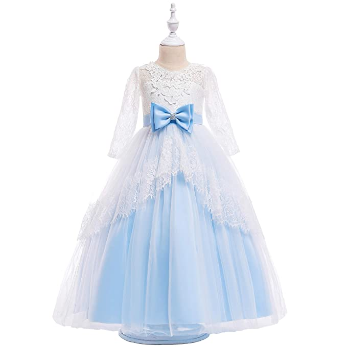 ee6cb6bfaa NOMSOCR Kids Lace Embroidery Princess Dress Girl Prom Ball Gown Christmas  Party Dresses (3-