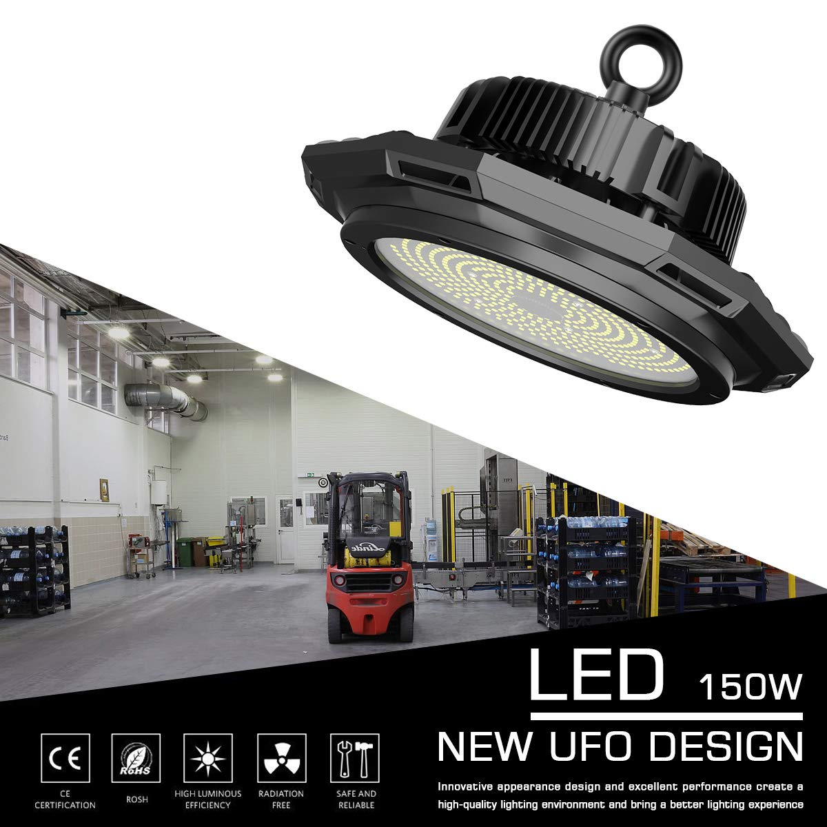 Abodong High Bay LED Light Fixture 150W 19500LM 5700K Outddor Lighting Alternative to 600W HPS/MH with 110-277V 2M AC Power Cord UL/DLC Approved IP 65 (150W with 2M PowerCord)