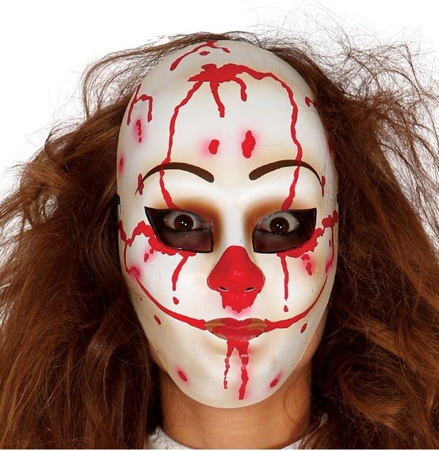 Bianco Colore Rosso GUIRCA SL Maschera da Pagliaccio Assassino 2780