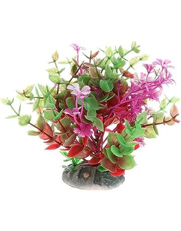 CADANIA 1 Pieza Plantas Acuáticas Plástico Flor Tanque de Peces Acuario Primer Plano Decoración Vivid Realista