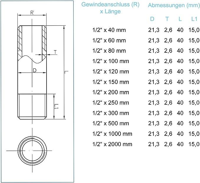 sfr23-11240-s longueur 40,0 mm, R 1 1//2 Riegler rohrdoppelnippel 23 AG//AG