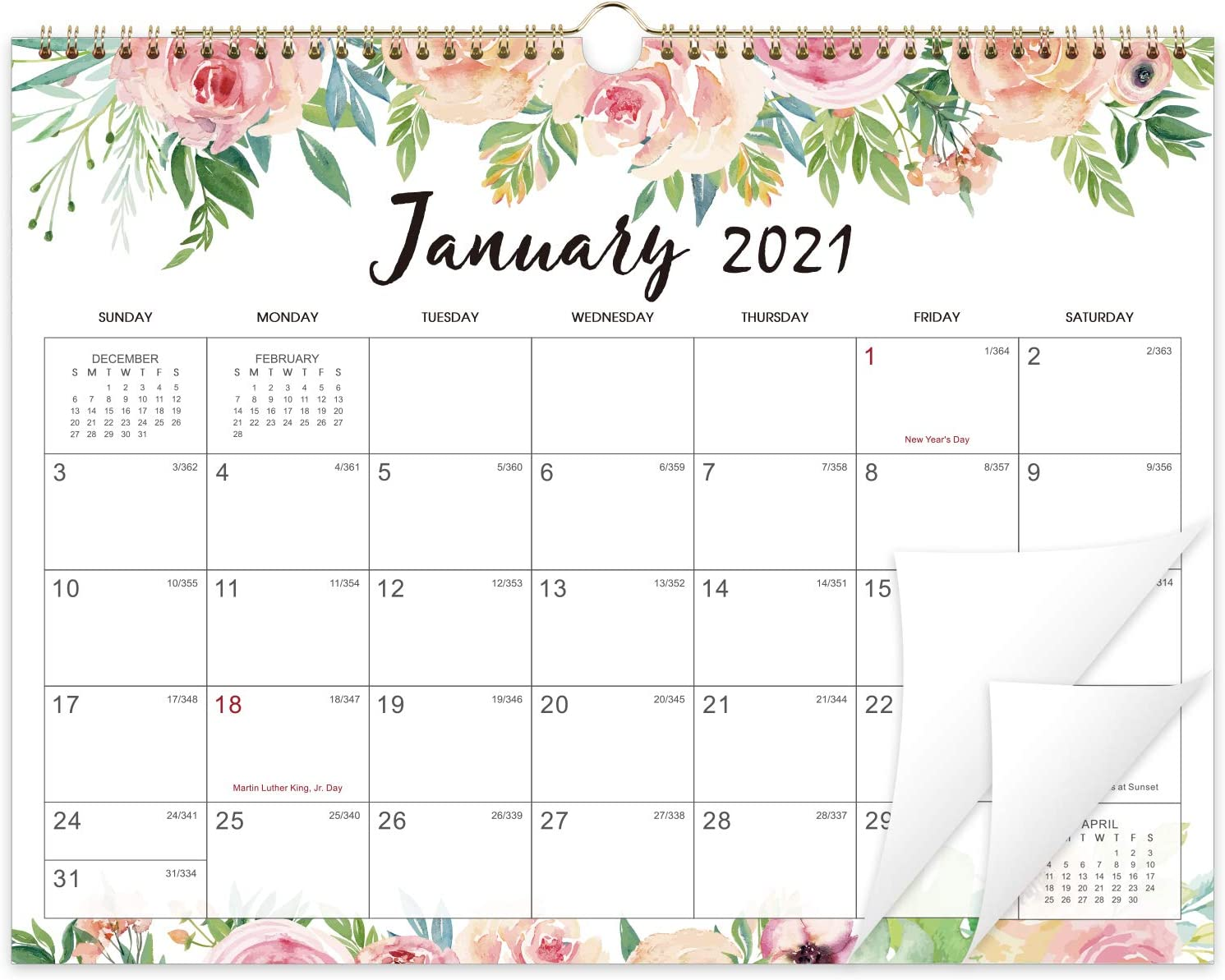 Wall Calendar 2021 - Floral 12 Monthly Wall Calendar,14.6'' x 11.4'', 2021 Yearly Wall Calendar, Twin-Wire Binding, Ruled Blocks with Julian Dates, Perfect for Organizing Your Home and Office