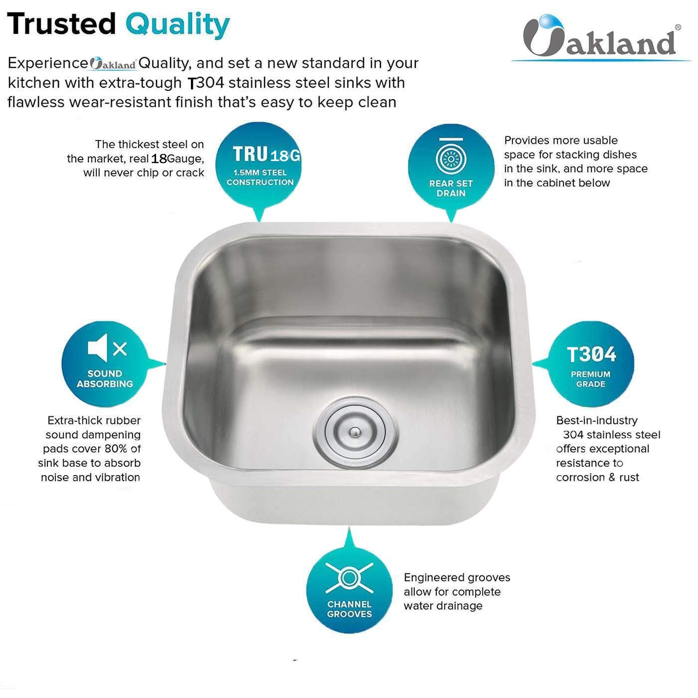 18-Gauge Undermount Single Bowl Stainless Steel Small Bar/Prep Sink 13''X13'' by Oakland (Image #1)