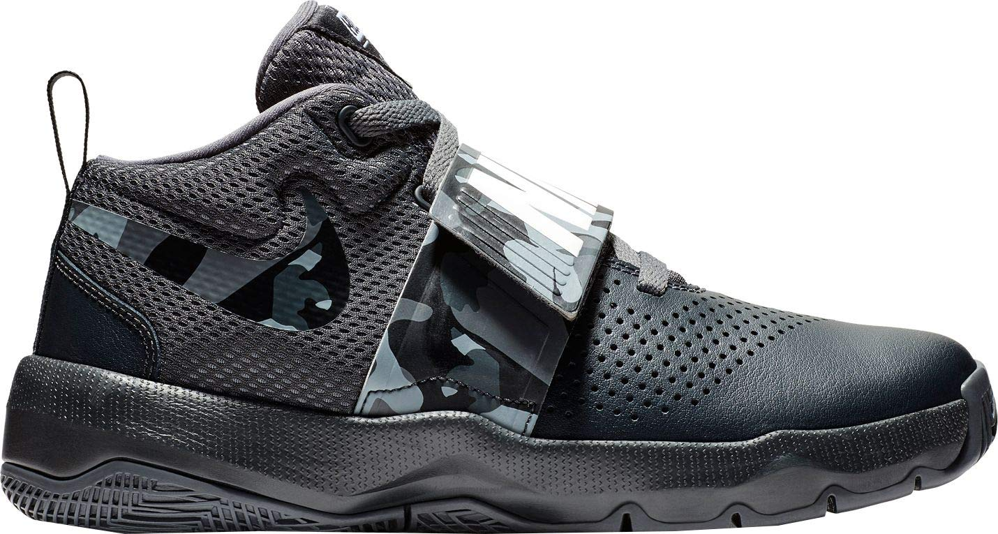 Nike Kids' Grade School Team Hustle D 8 Camo Basketball Shoes (4.5, Black Camo)