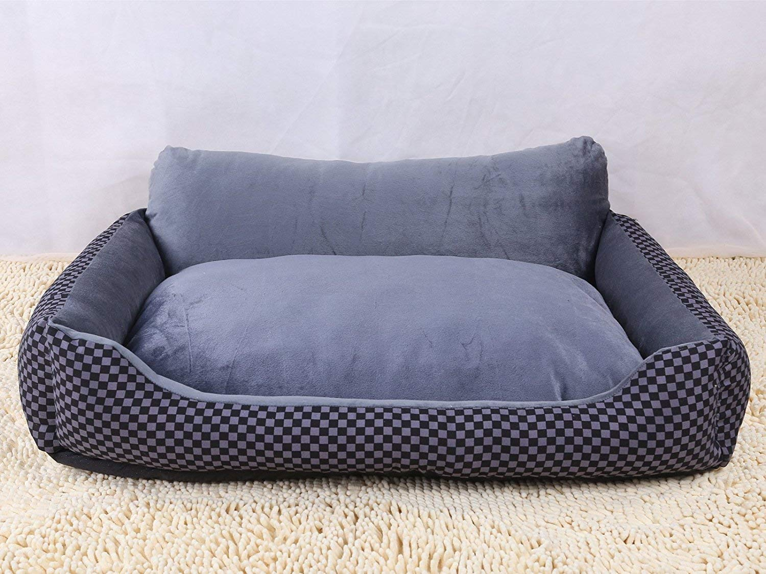 IANXI Home New Sofa Kennel Waterproof Dog Pet Cat Bed Mat Cushion Washable Ultra-Soft Plush Fabric Soft Cover Black with Grey 70X50X21CM for Cat Dog