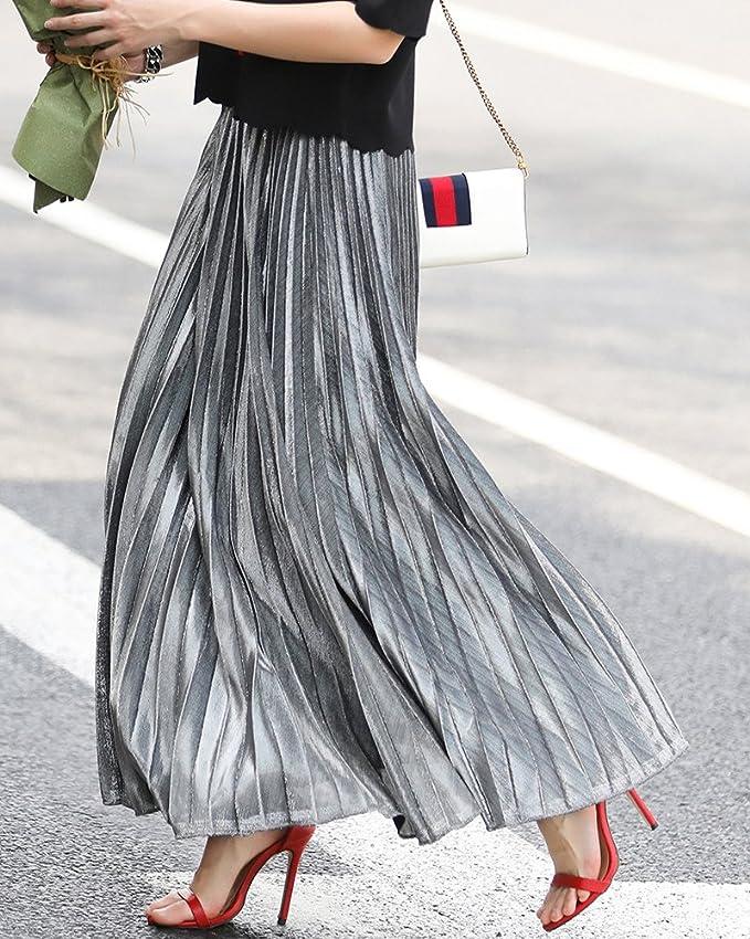 Kasen Mujer Cintura Elástica Metálico Lustre Brillante Plisada Falda Larga  de la Vendimia Faldas Plata S  Amazon.es  Ropa y accesorios 773bcf38543a