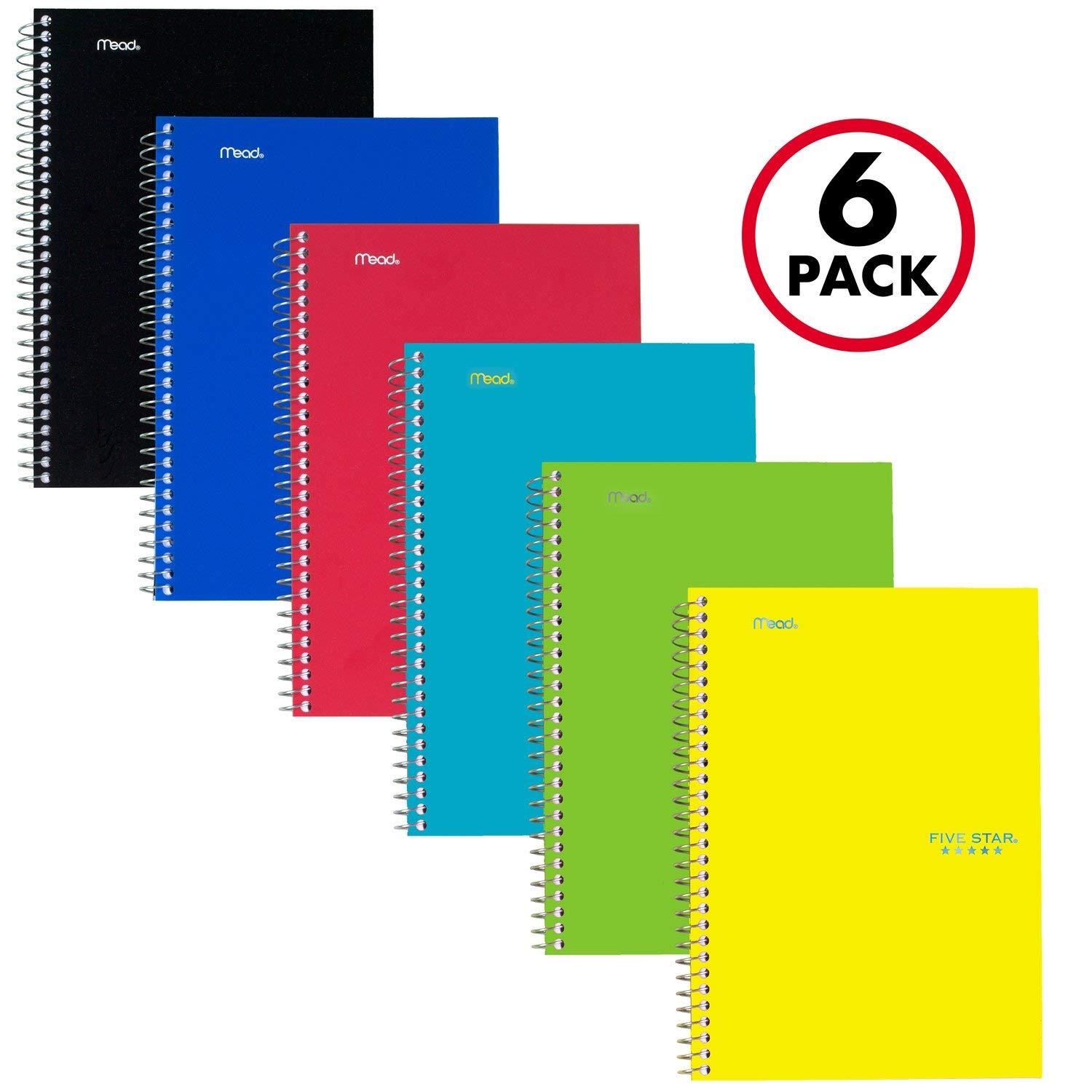 Five Star Spiral Notebooks, 2 Subject, College Ruled Paper, 100 Sheets, 9-1/2'' x 6'', Assorted Colors, 6 Pack (73711)