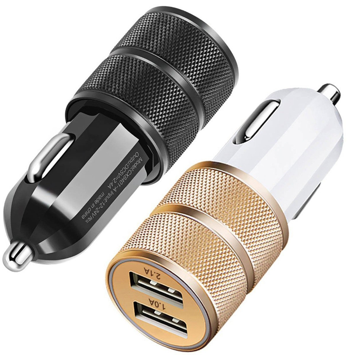 Cargador de Coche EUzeo DC 1A / 2.1A / DC 12-24V / 2Port USB / 2 piezas (dorado + negro) / 12V / 24V DC /Coche Universal Smart Quick Charge Adaptador de cargador Car Fast Charger para Apple iPhone 6 6s Plus 5 5S 4 4S, Ipad mini 1 2 3 4, Samsung Galaxy S5 S