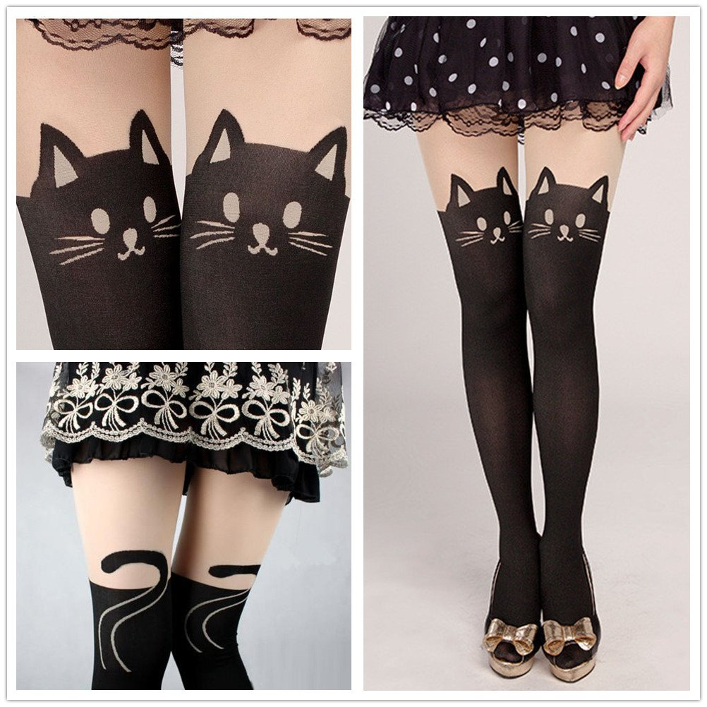 6b6ad5ee4ef96 Amazon.com: Fun Daisy Tights Stockings Cat Tail Tattoo Lovely Socks Lady  Pantyhose (Black Cats): Clothing