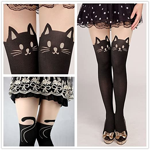 08edb37a1 Amazon.com  Fun Daisy Tights Stockings Cat Tail Tattoo Lovely Socks ...