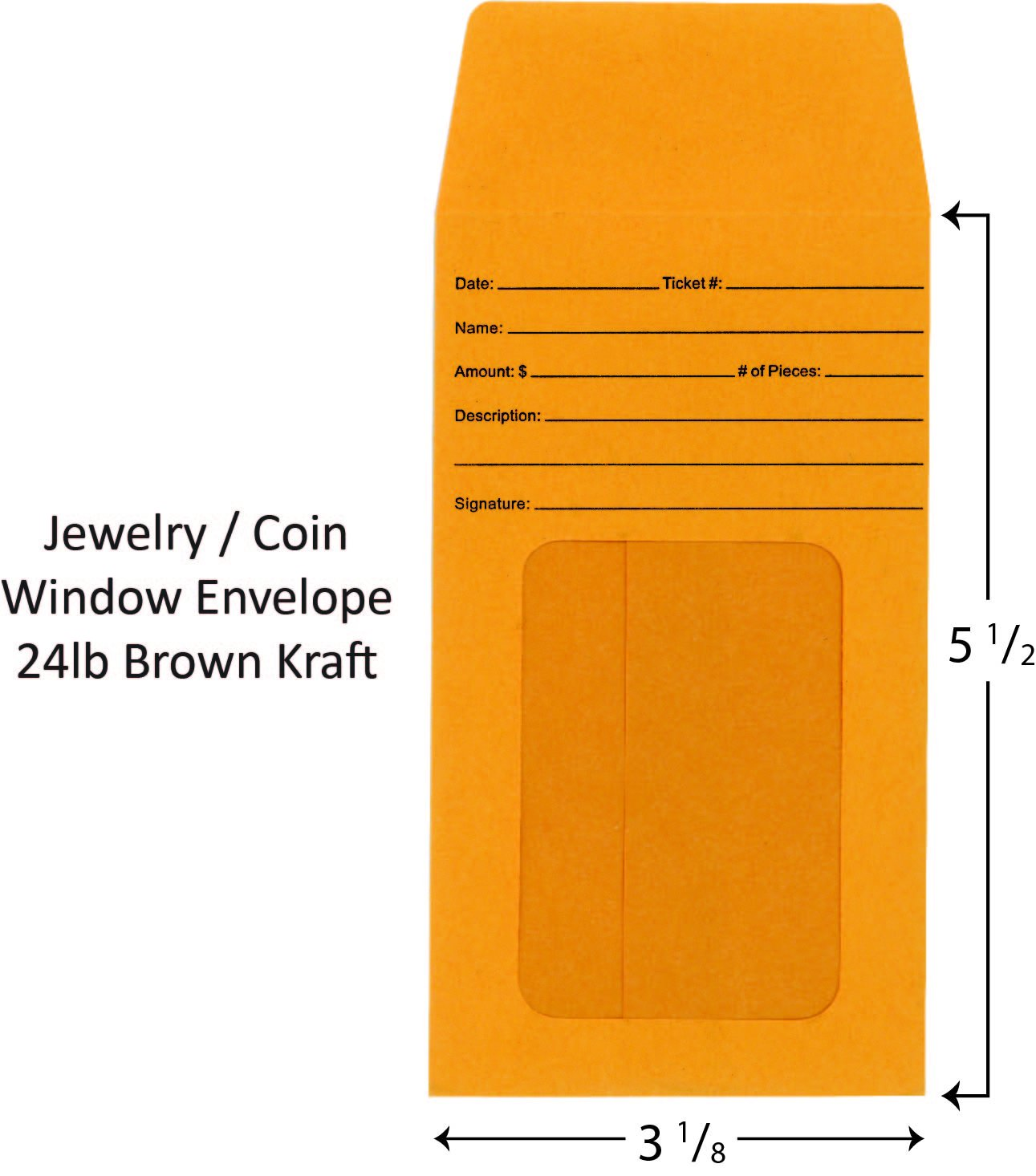 Jewelry/Coin Window Envelope Pack of 100