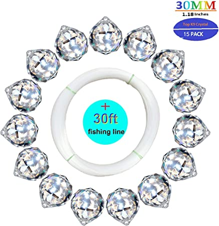 50mm Clear Feng Shui Drops Pendants Suncatcher Hanging Sector Crystal Store US