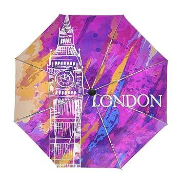 ALAZA Big Ben de Londres Acuarela Viaje Paraguas de Apertura automática Cerca de Protección a Prueba