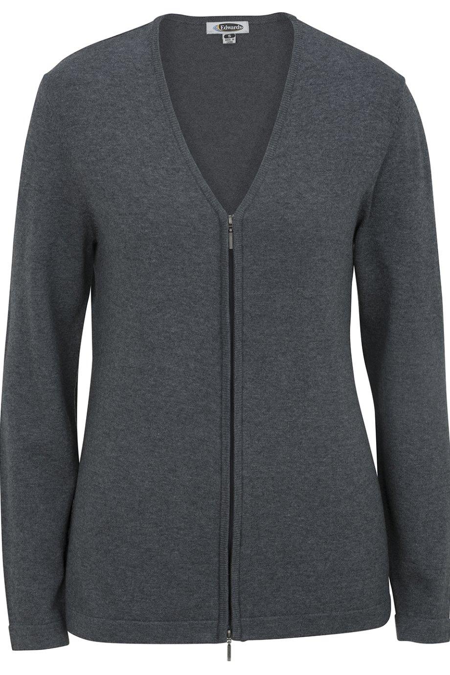 Edwards Women's Full Zip V-Neck Cardigan Sweater, Smoke Heather, Large