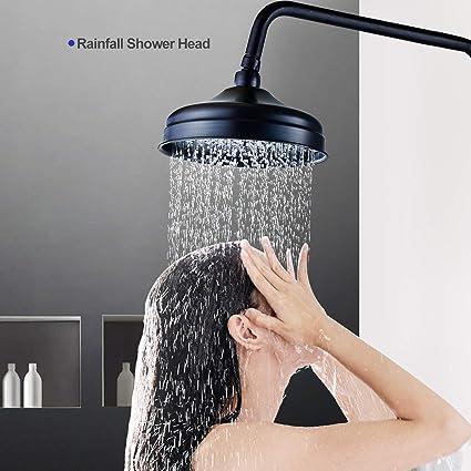 SUGU Syst/ème de douche avec bras de douche pivotant pour montage mural Noir 150 cm