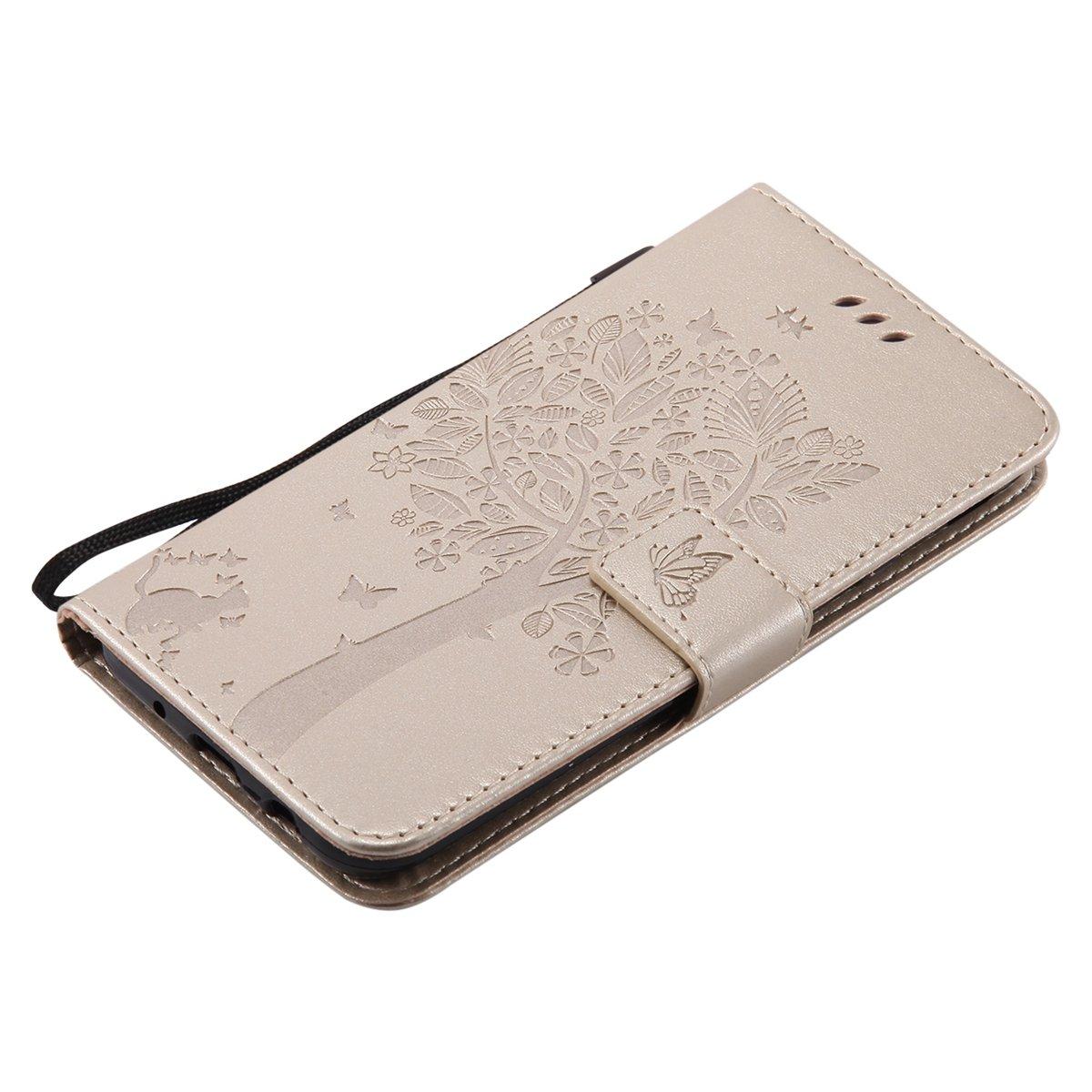 Libro Flip Case Portafoglio Wallet Cover in PU Pelle Tinta Unita Custodia Embossed Rose Caso con Supporto di Stand//Carte Slot ISAKEN Compatibile con Samsung Galaxy J5 2017 Custodia Oro Rose