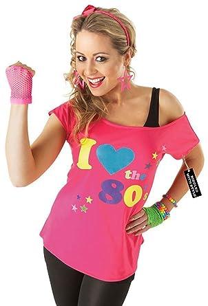 I Love Deluxe de la 80 Mesdames Pop Star T-shirt rose sexy déguisement Rétro