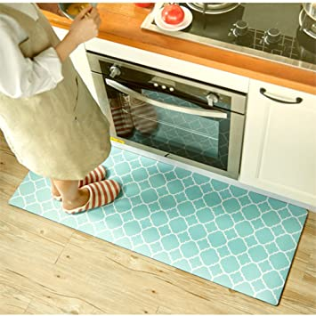 Ukeler Kitchen Rug,Waterproof Kitchen Rug Runner Washable Non-slip Durable  Bathroom Rug, 17.7\'\'×47.2\'\', Blue
