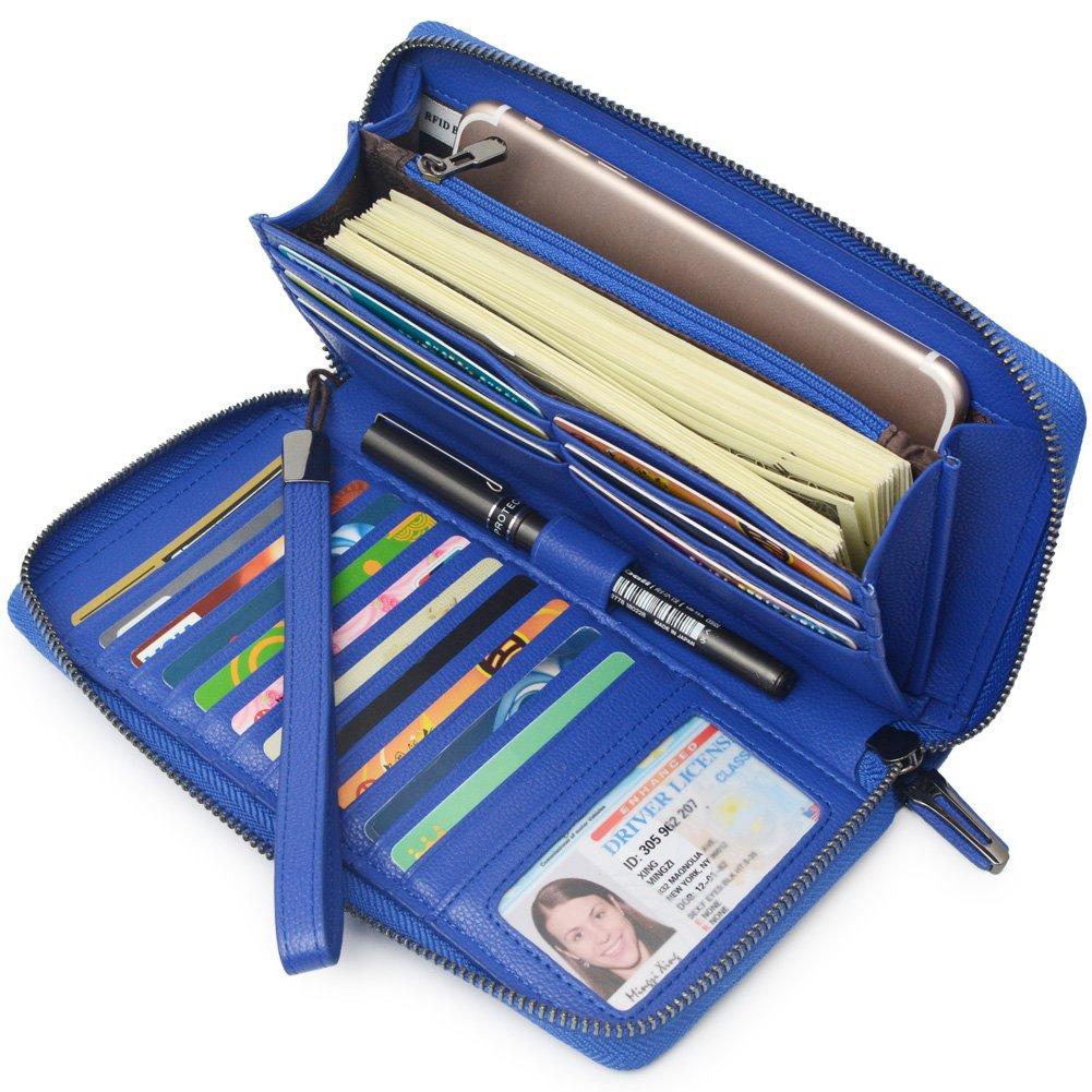 Bveyzi Frauen RFID Blockieren Brieftasche Leder Zip um Kupplung große Reise Tasche Handschlaufe Blau BE1408BLU