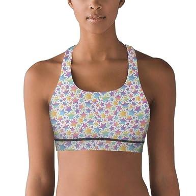 48e6553cc1 Unicorn Magic Rainbow Stars On White Bra Yoga for Women Sports Bras Workout