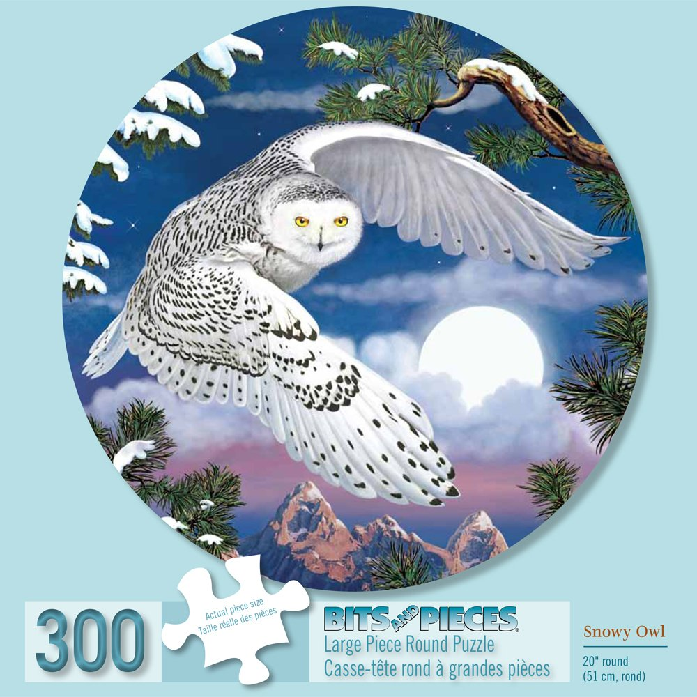 Bits and Pieces - 300 Piece Round Jigsaw Puzzle for Adults - Snowy Owl - 300 pc Snow Scene Jigsaw by Artist Rosiland Solomon